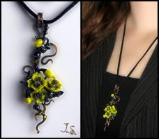Yellow poppy flowers pendant by JSjewelry