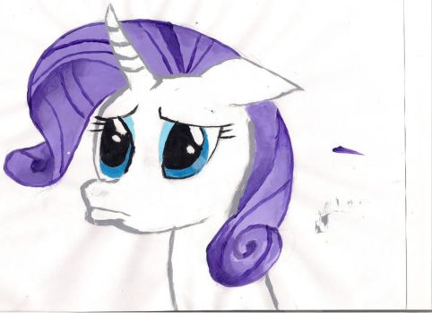Pouty Rarity Painted by fuzzytail61
