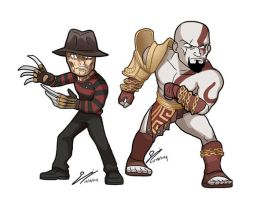 Freddy and Kratos by SandikaRakhim
