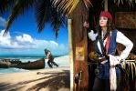 Elo and Jack Sparrow, beach by elodie50a