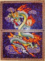 Chinese dragon mosaic by Priscillascreations