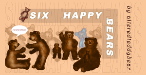 Six Happy Bears Brush by alteredteddybear