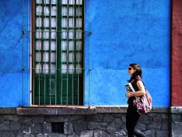 Walking by the Blue House by Alex--Torres