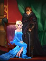 Commission - Elsa and Hiccup Royal Portrait by charlestanart