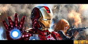 Iron Man / Black Widow by IssssE