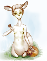Deer and fox by stringmouse