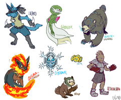 --+ Poke Redesigns + Fusions by TeaDino