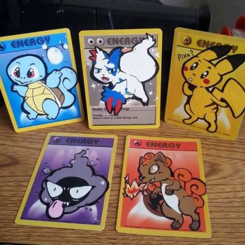 Painted Pokemon Energy Cards by LuckyMissClover