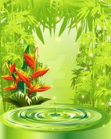 Zen Green Bamboo Heliconias and Water by Bluedarkat