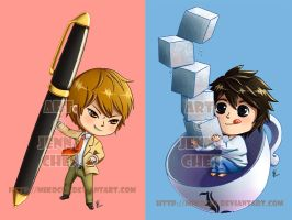 Death Note bookmarks: Light L by Mikochi