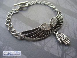 Castiel the Angel Bracelet with Outstretched Wings by SpellsNSpooks