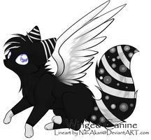 Black and White Winged Canine Adopt - OPEN! by FrostDragon-Adopts