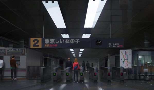Metro station after 10 PM by maykrender