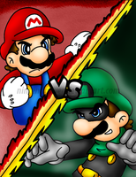 Mr.L vs Mario by Nintendrawer