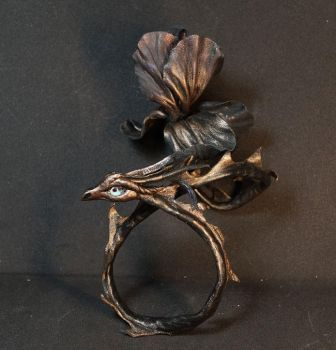 Iris Black bronze flower bracelet dragon by kessan