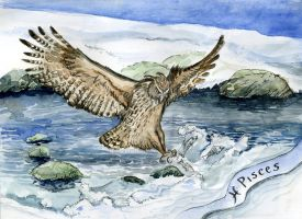 Blakiston's Fish Owl is for Pisces - Zodiac Owl by Redilion