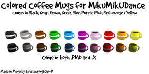 MMD Props - Colored Coffee Mugs by EverlastingEcho-P