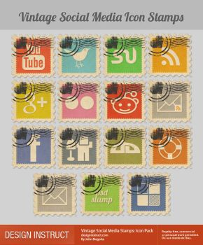 Stamp Social Icons by PsdDude