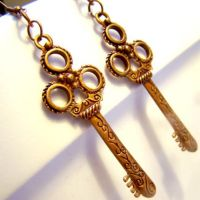 Victorian Gypsy Key Earrings by SteamSociety