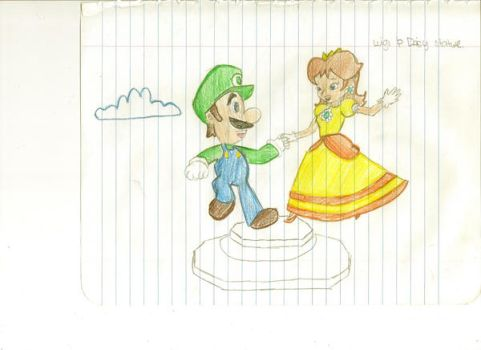 Luigi and Daisy statue by Luigi-Daisy-Club