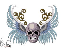 Skull and Wings by 8i-Emmz-i8