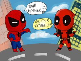 Deadpool and Spidey by SylvieZ