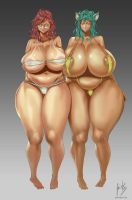 Felicia and Vazz (bikini version) by javiermtz
