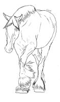 Clydesdale Lineart by PuzzlePieceEquine
