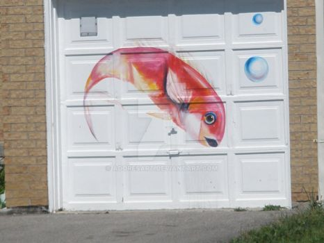 Fish painting on Garage door by AdoresArt