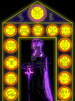 Ancinent goddess Hell gate keeper Printable by Mikewildt