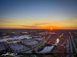 Sunset Aerial Palm Beach Gardens Over the Mall by CaptainKimo