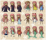 Coral's Fashion Lineup by Icy-Snowflakes