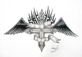 black winged cross by JOVictory