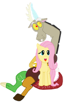 Fluttershy and Discord Vector by AshleyFluttershy