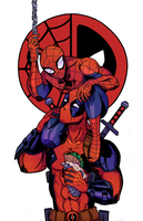Spider-Man/Deadpool by sharkhette