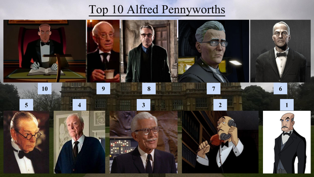 Top 10 Alfred Pennyworths by JJHatter