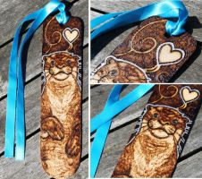 Pyrography - Florrie the Otter Bookmark by BumbleBeeFairy