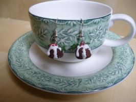 Piece of Cake - Christmas Pudding Earrings by dfritillary