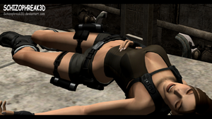 Lara Croft - Unconscious 1 by Schizophreak3D