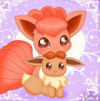 Cute Vulpix And Eevee by jirachicute28