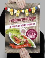Restaurant Styled Flyer Template Download PSD by freebiespsd