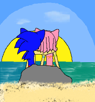 sonamy date at the beach by AmyroseXDSonic