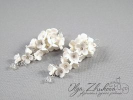 earrings with flowers by polyflowers