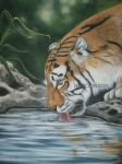 Photograph of the whole painting Thirsty Tiger by Shazhutch