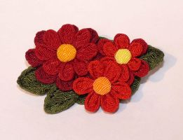 Three flower brooch by Liliana-Claire