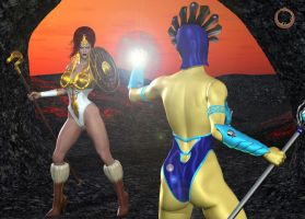 Teela Vs. Evil-Lyn 01 by Uroboros-Art