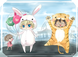Tiger and Bunny at the fair by Choco-lair