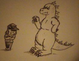 Godzilla says go to your room by pie-lord