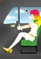 Commission: Hana inside a car by Allichan96