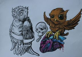 Tattoo Flash-Owls by lickingstitches